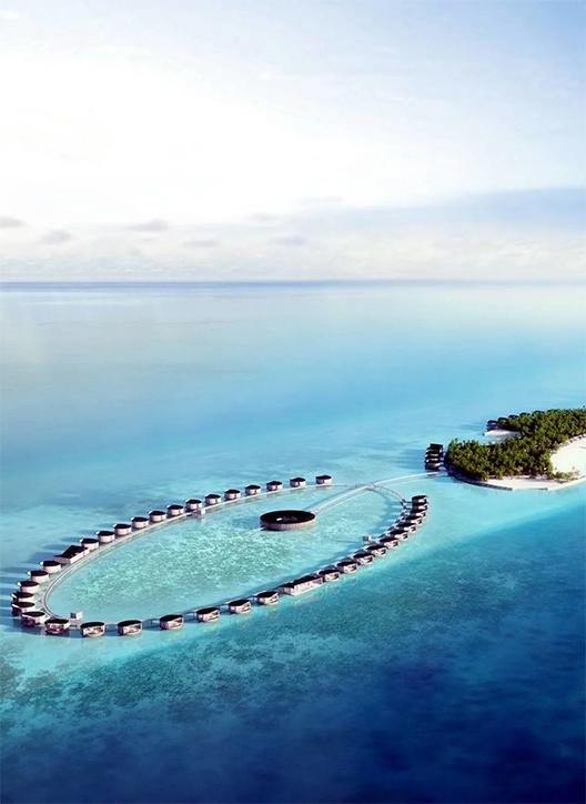 Foto aérea do hotel Ritz-Carlton Maldives Fari Islands